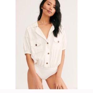Free People So-Fari Linen White Bodysuit New NWT